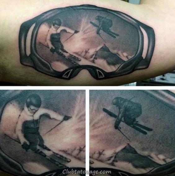 Astuces de ski Hommes Goggle Forearm Tattoo