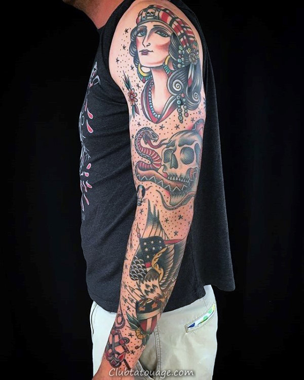 Spider Web Avec Sailor Skull Traditional Male Tattoo Sleeve