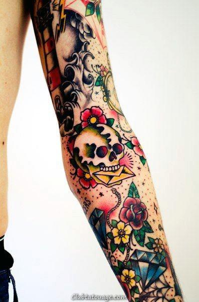 Designs 60 manches Tattoo traditionnel pour les hommes - Idées Old encre école