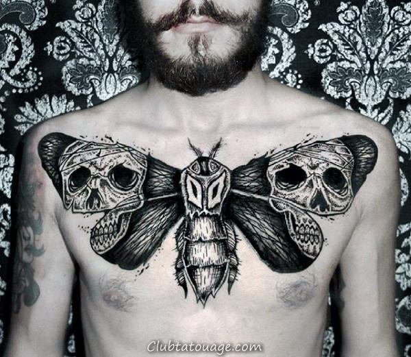 Aquarelle crâne avec Moth Hommes Colorful Tatouages Forearm