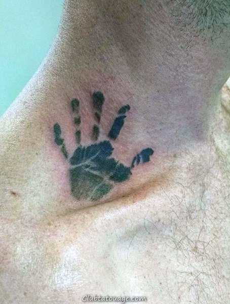 Solid Black Ink Guys Handprint Retour Tattoo Ideas