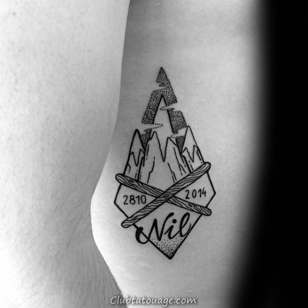 Snowflakes Hommes ski Aquarelle Arm Tattoos