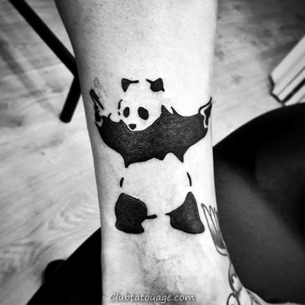 Aquarelle Hommes Panda Leg Calf Tattoos