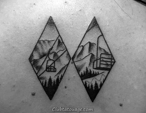 Vintage ski Guys Inner Arm Tattoo design Ideas