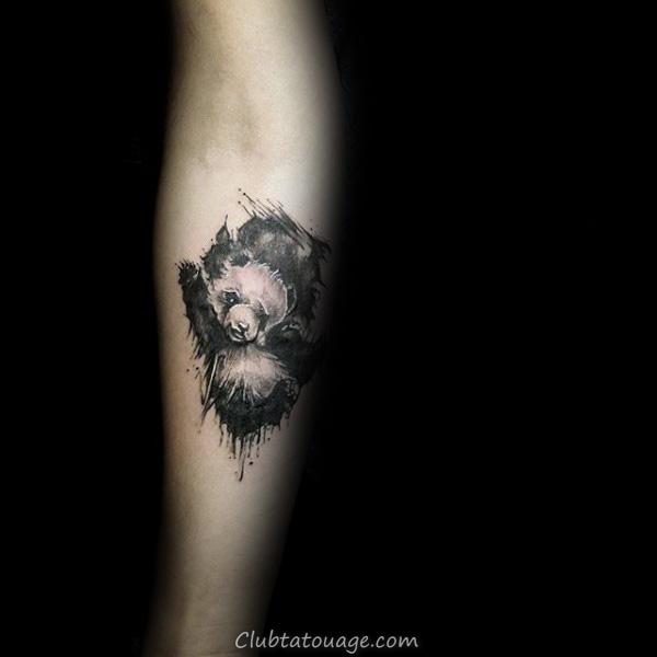 Aquarelle éclaboussure de peinture Roaring Panda Hommes Upper Chest Tattoo