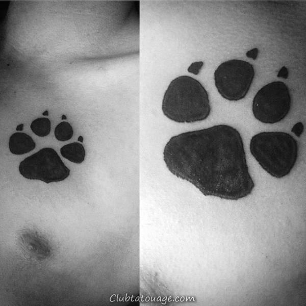 tribal Petit Loup Paw Homme encre noire de tatouage Idées