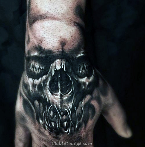 Ultra réalistes Skull Mens 3d Tattoo Designs main