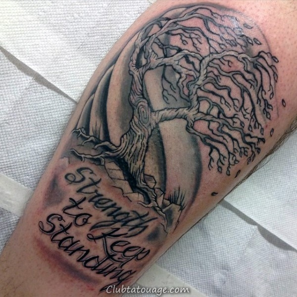 force de garder permanent Arbre Blowing In The Mens Wind Tattoos