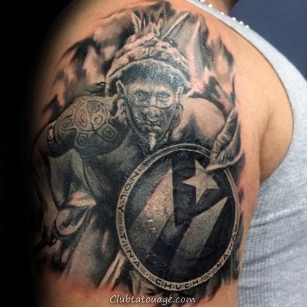 Upper Arm Taino Guys Tattoo Inspiration Design Ideas