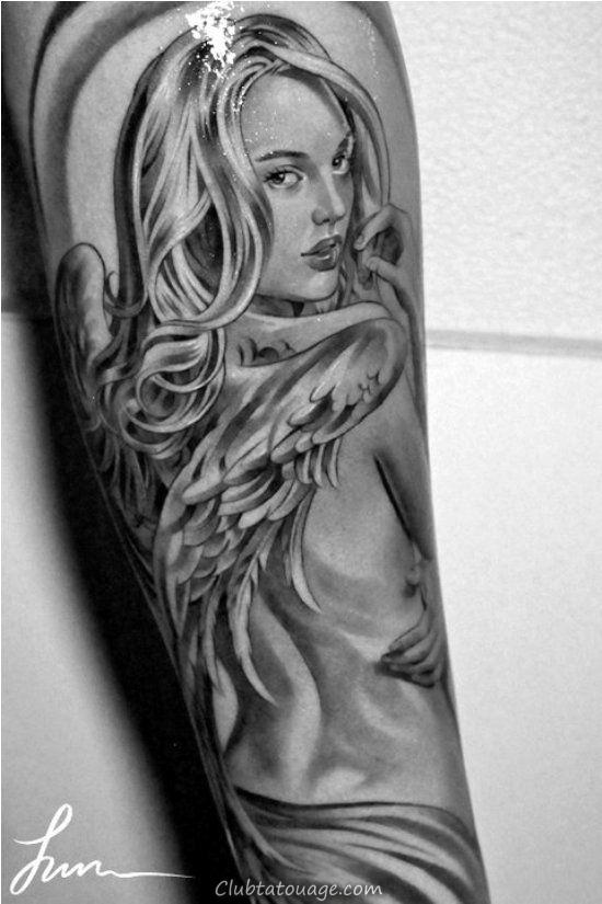 voir le tatouage d'un ange gardien