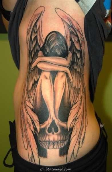 voir le tatouage d'un ange gardien, tatouage 3D