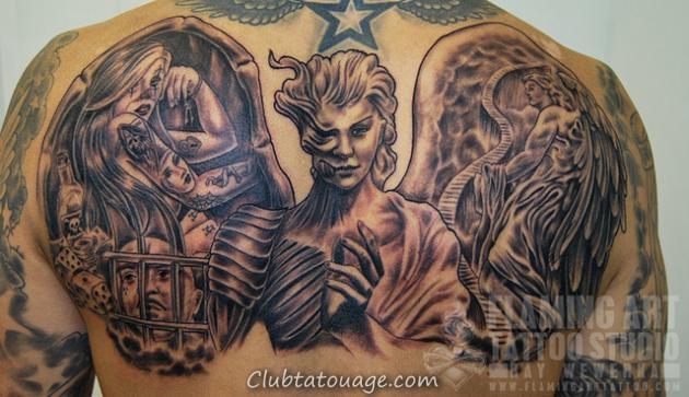 voir le tatouage d'un ange tuteur est un tatouage réaliste dans les tons gris