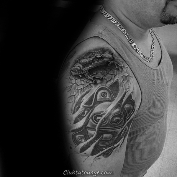 Upper Arm Tribal Homme Taino Tattoo Avec Frog And Sun
