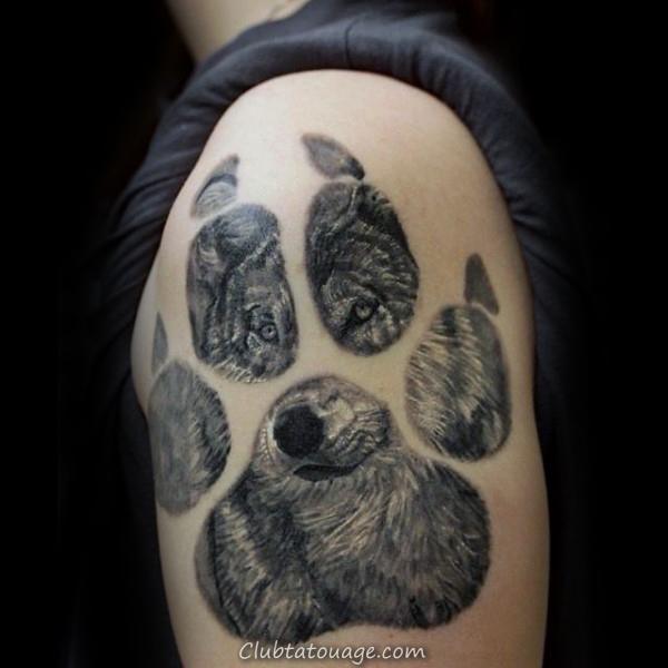 visage de loup Dedans Paw Hommes Upper Arm Tattoo