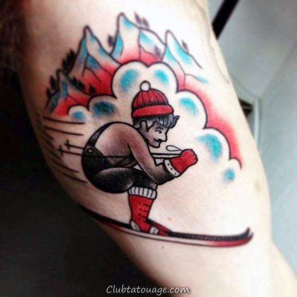 Aquarelle ski Mens bras et l'épaule Tattoo 600