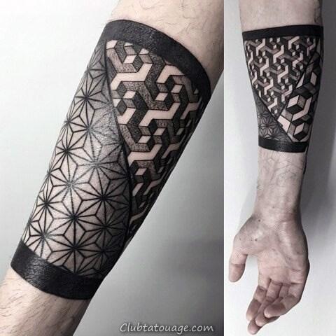 Formes 3D et étoiles Motif Homme Avant-bras