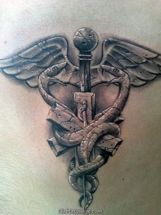 3d pierre caducée Hommes retour Tattoos