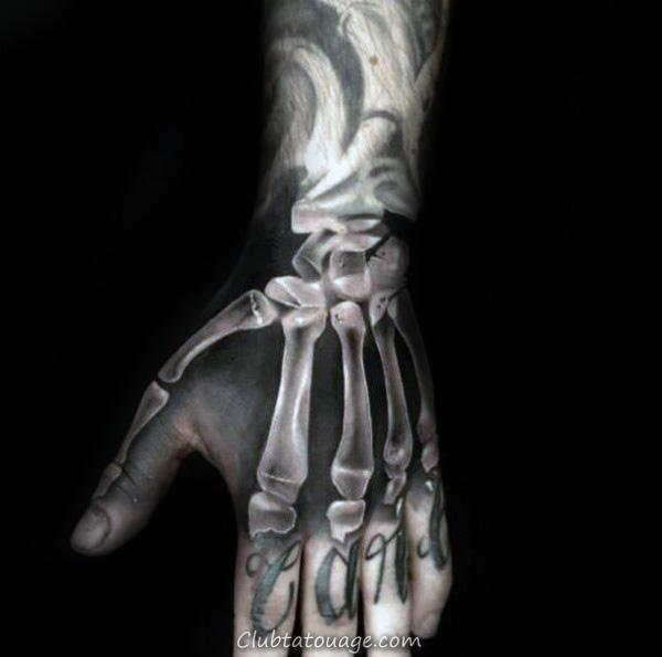 3d Xray Homme Squelette main Tatouages 