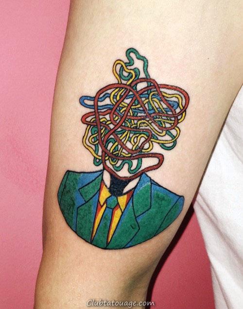 Abstract affaires dans un costume Pop Art Tatouages Pour Guys