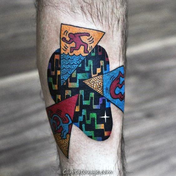 Résumé Pop art Colorful Tatouages Hommes Leg