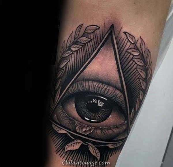 All Seeing Eye Tattoo Branch Olive Triangle Hommes de Nice Inner Forearm