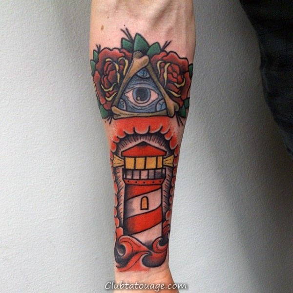 Amazing Inner Forearm manches Homme Phare traditionnel Avec All Seeing Tattoo Eye