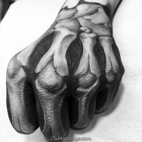 impressionnant Squelette main Homme Tattoos