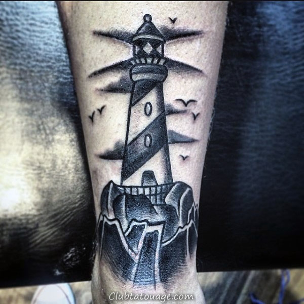 Tattoo impressionnant Old School Traditional Shaded Mens Lighthouse Lower Leg Designs
