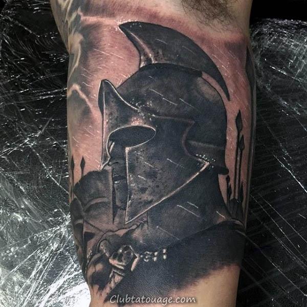 Awesome Spartan Homme Spear Tatouage sur le bras intérieur