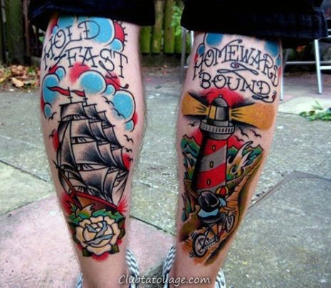 Back Of Legs Hold Fast traditionnels Phare Hommes Tattoos