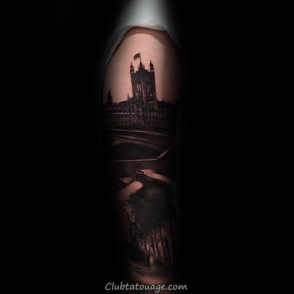 Black Contour d'encre de construction Hommes Minimaliste Tattoos