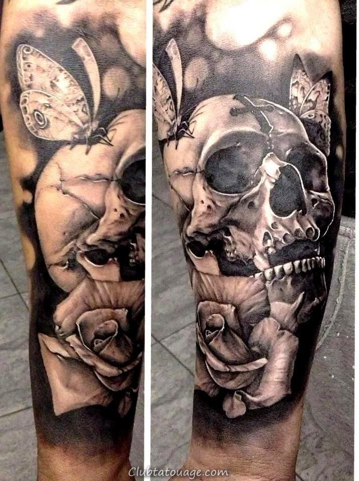 Tatouages modèles crânes spectaculaires de la peau