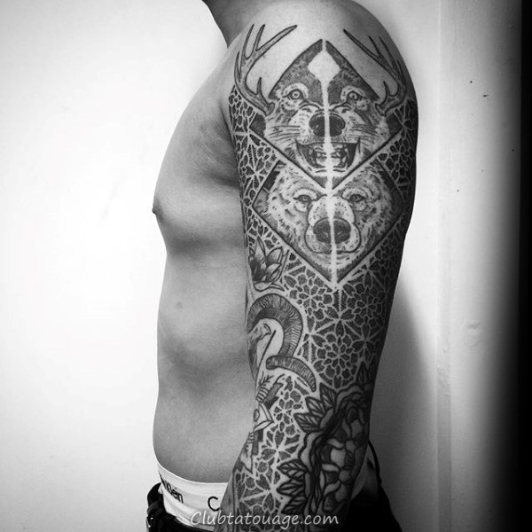 Bête Et Motif Tattoo Homme Manches full