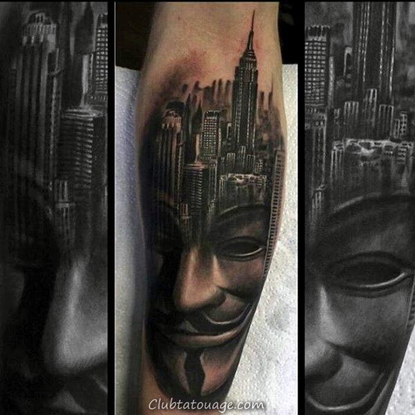 Bâtiment Avec espace extra-atmosphérique Sky Mens pleine Tattoo Sleeve Designs
