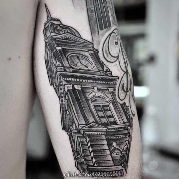 Building With Tattoo Stairs Mens Forearm