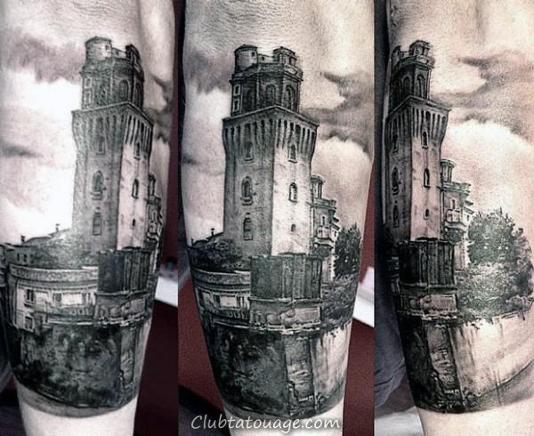 Bâtiment Église Fenêtre Illusion optique Hommes Full Back Tattoos