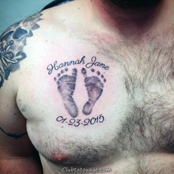enfant Footprint Hommes Upper Chest Tattoo Ideas