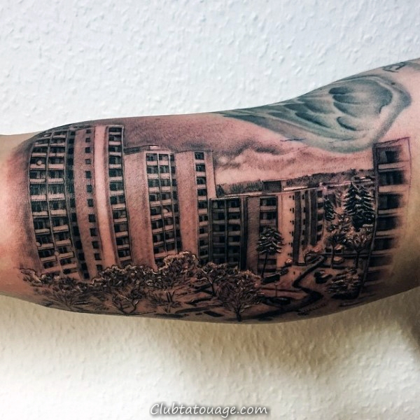 Cool Building Shaded Guys Skyline Upper Arm Tattoos