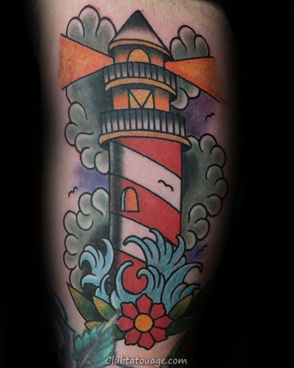 40 Tattoo Designs Phare traditionnel pour les hommes - Idées Old School