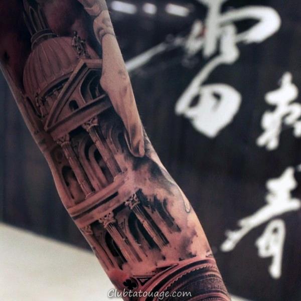 Creative Building Dotwork Mens Arm Tattoos