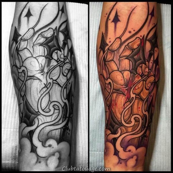Mens Spear Refroidir Grâce Tattoo main sur les avant-bras