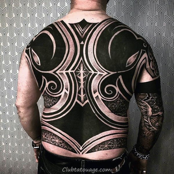 width Motif Dark Speherical Tattoo Homme Full Back