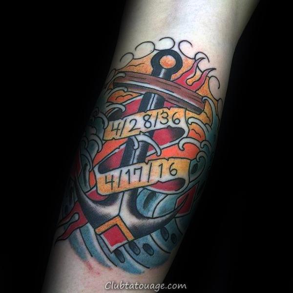 Dates traditionnelles d'ancrage Mémorial Hommes Tattoos