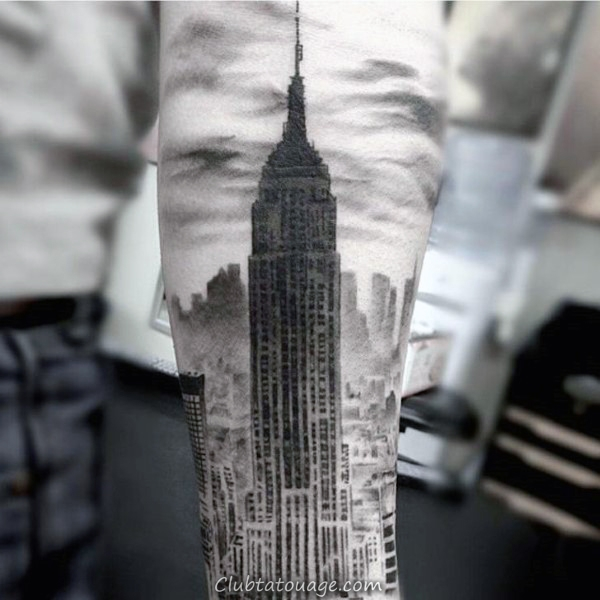 Épaule Empire State Building Mens Tattoo Designs
