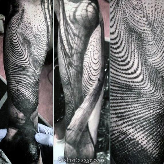 Dna Helix Strand Guys spatiales Fingerprint Upper Arm Tattoos