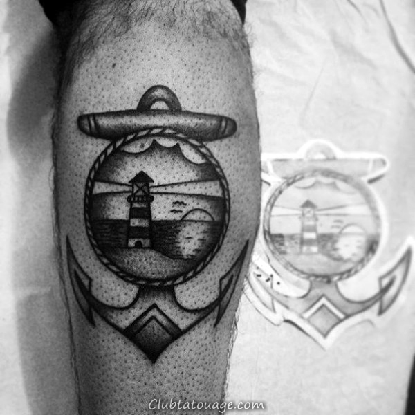 Dotwork Phare traditionnel Anchor Mens Tattoo Sur Leg Calf