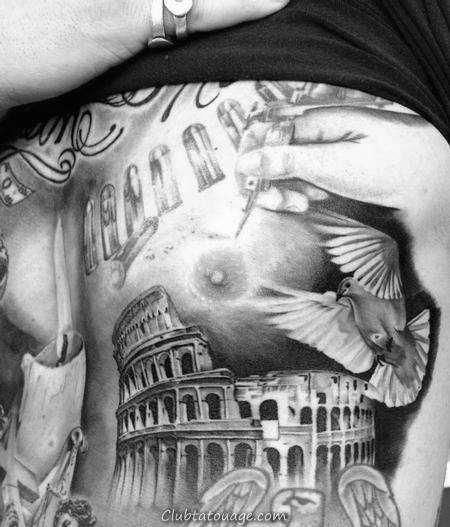 Empire State Building Avec Forearm Tattoo manches de drapeau américain Mens