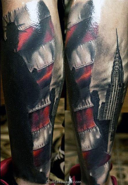 Gentleman Avec Londres Bâtiments à thème complet Tattoo Sleeve