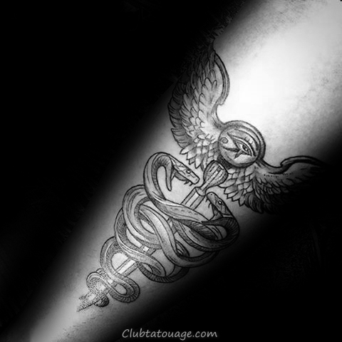 Gentleman Avec Caduceus Shaded Arm Tattoo design