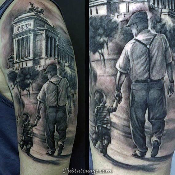 Gentleman Avec New York City Themed Building Tattoo Sleeve